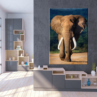 Canvas Art Elephants Print African Sunset Poster Wild Animal Poster Wall Art Modular Pictures Living Room Home Decor
