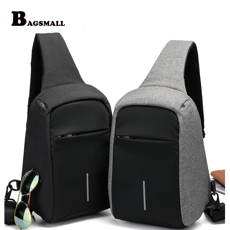 BAGSMALL Brand Chest Bag  Men's Crossbody Bag Small Backpack Waterproof Oxford Functional Sling Pack Casual Men Daypack tinyat men functional multilayer bag cool casual chest bag pack morden outside large capacity messenger bag pack t509 black