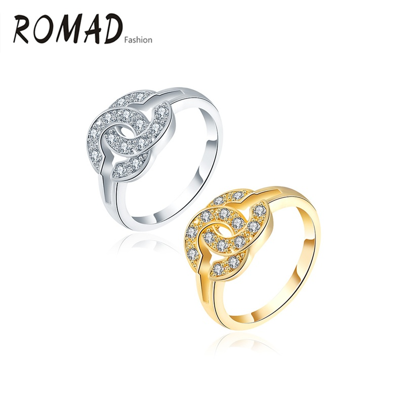 Romad Rings Letter C-Shaped With Rhinests