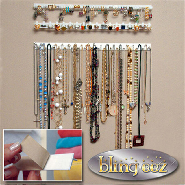 Adhesive Jewelry Earring Necklace Hanger Holder Organizer Packaging Display Rack Sticky Hooks Wall Mount Key