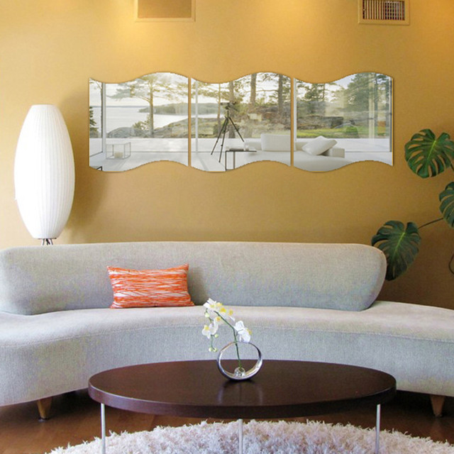 New 3PCS DIY Removable Home Room Wall Mirror Sticker Art Vinyl Mural Decor Wall Sticker vinilos decorativos para paredes