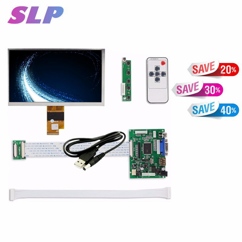 Skylarpu 7 Inches High Resolution 1024x600 Screen Display LCD TFT Monitor with Remote Driver Control Board 2AV HDMI VGA for