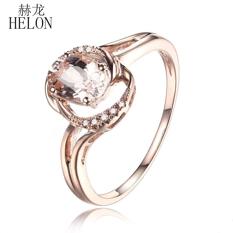 HELON Noble Solid 14K Rose Gold 7x5mm Oval Shape Morganite Pave Natural Diamonds Jewelry Unique Wedding Anniversary Fine RingHELON Noble Solid 14K Rose Gold 7x5mm Oval Shape Morganite Pave Natural Diamonds Jewelry Unique Wedding Anniversary Fine Ring