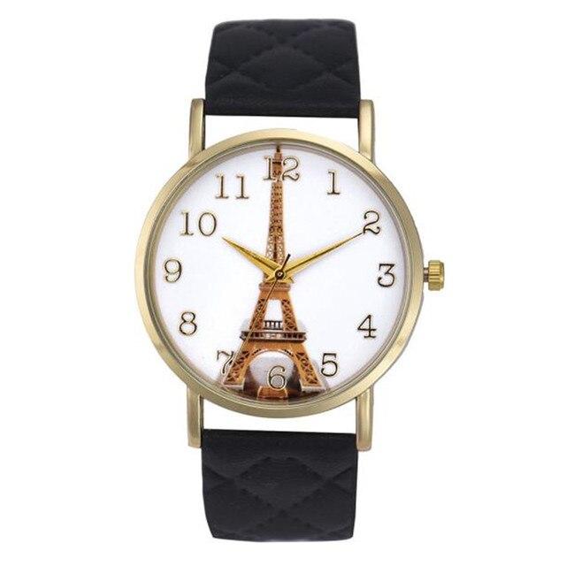 Париж Эйфелева Башня Смотреть Женщины Кварцевые Наручные Часы Мода Повседневная PU Кожаный Ремешок Женские Часы Женские Часы Relogio женщина для
