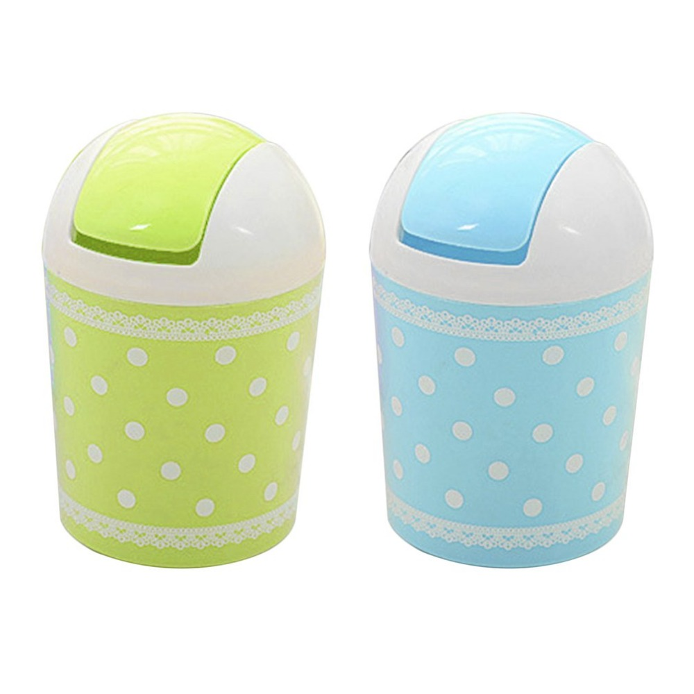 PREUP Mini Lace Dot Point Printed Trash Can Garbage Dust Case Car Office Home Desktop Sundries Barrel Storage Tank Hot