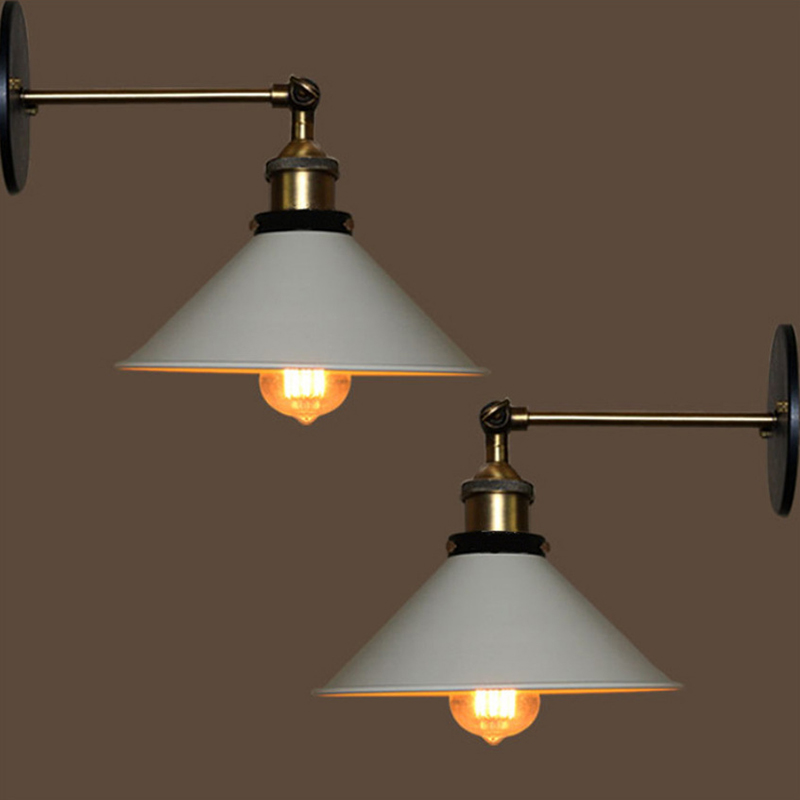 Feimefeiyou European antique iron small cover wall lamp village personality creative wall lamp retro iron lighting BLACK/WHITE