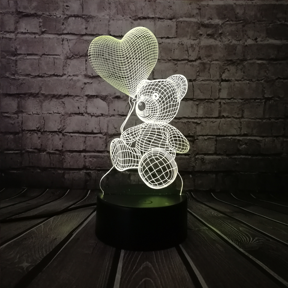 2019 Baby Teddy Bear Hold Love Heart Balloon 3D USB LED Lamp Table Night Light Home Room Decor Kids Toy Christmas Gift Beside