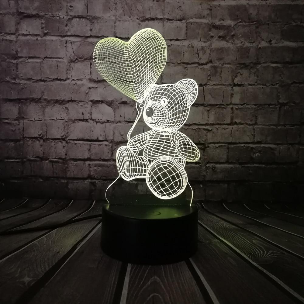 2019 Baby Teddy Bear Hold Love Heart Balloon 3D USB LED Lamp Table Night Light Home Room Decor Kids Toy Christmas Gift Beside