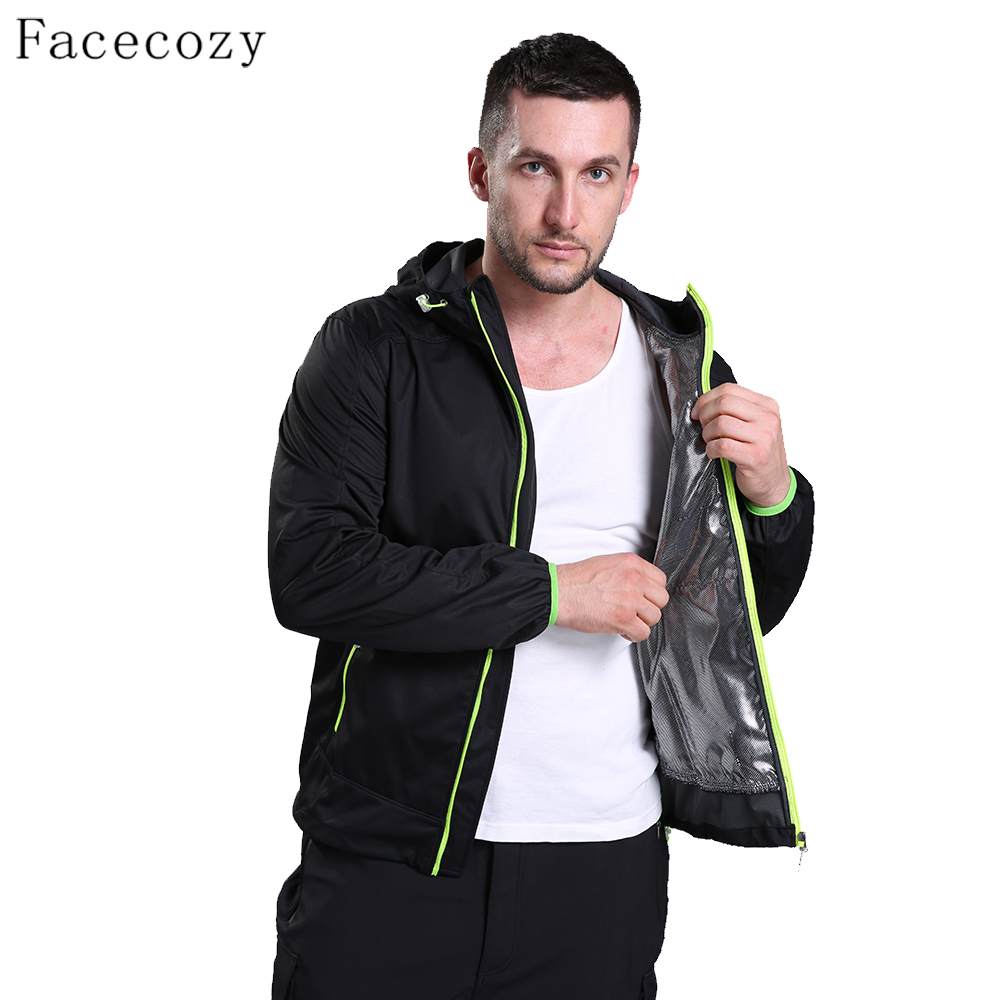 Facecozy Men's Spring Ourdoor Sports Suit Male Breathable Hunting Clothes Zipper Hood Thin Coat facecozy men spring
