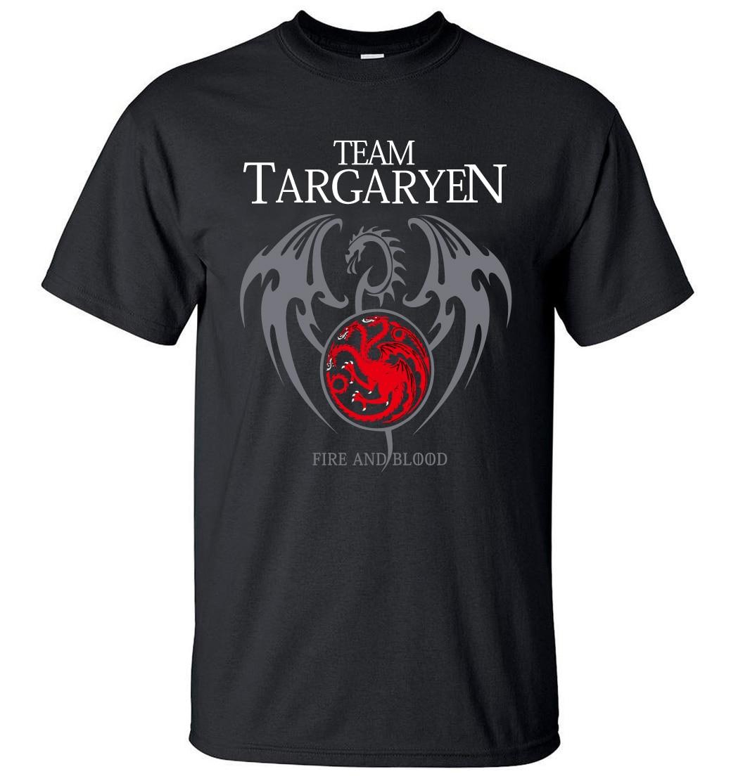 2019 Summer Men Short Sleeve Shirt 100% Cotton Male T-Shirts Game of Thrones Targaryen Fire & Blood Men T Shirt Brand-Clothing Футболка