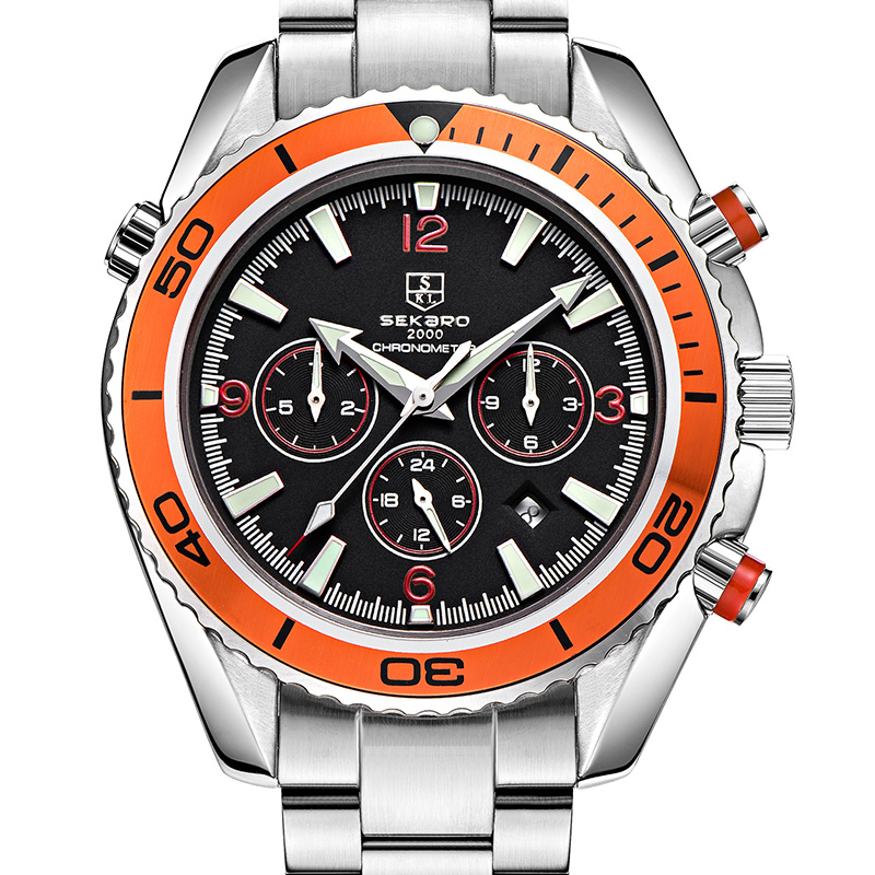 New sekaro sports watches men s automatic mechanical watch male steel bracelet table multi function waterproof