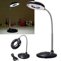 USB LED Reading Desk Table Light Desktop Magnifier Lamp Repair Tools 3X Magnifying Glass Lens Loupe