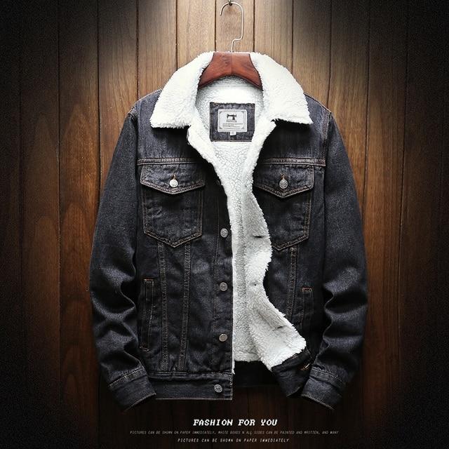Light Blue Winter Jean Jackets Outerwear Warm Denim Coats Large Size Wool Liner Thicker Winter Denim Jackets Size6XL 2