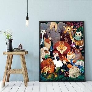 Алмазная вышивка мозаика Вышивка крестом полный мультфильм животные парк Мир Детская комната круглый DIY 5D продажа украшение подарок