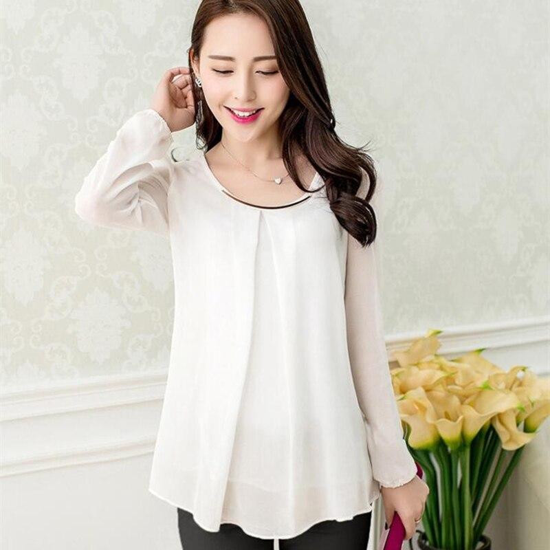 XXXXL Blusas 2017 New Women O-neck Chiffon Blouse Casual lady Long Sleeve Blusa Fashion Blouses Shirt 7 Colors Plus Size Tops