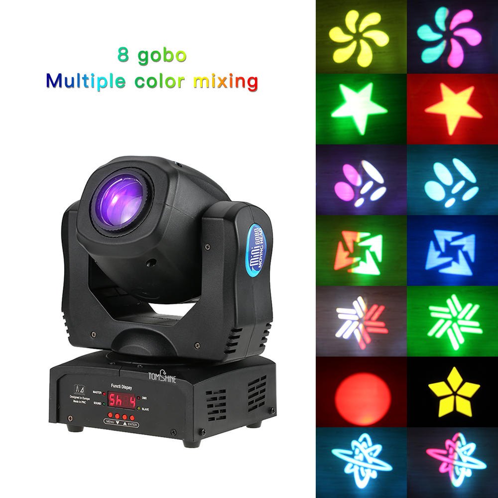 DJ Disco light 80W DMX512 Auto Rotating 9 11 Channels Rainbow 8Colors Head Moving Light LED
