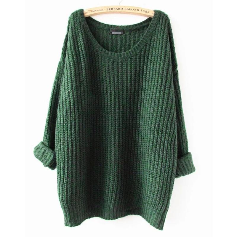 Oversized Sweater Autumn Winter Sweaters Women Pull Femme Knitwear Long  Sleeve O-neck Long Pullover 2018 Tricot Kerst Trui Knit 8ec88d0a7