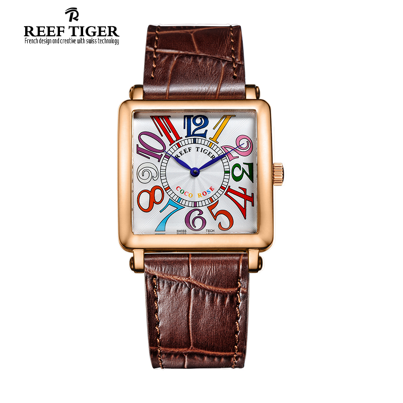 Reef Tiger/RT Watches Quartz Watch for Women Rose Gold Watches with Leather Strap Arabic Numeral Markers Fashion Watch RGA173 arabic numeral ladies watch 2017