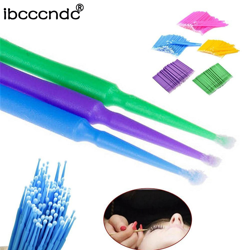New 100PCS/Pack Disposable Makeup Brushes Swab Microbrushes Eyelash Extension Durable Micro Individual Applicators Mascara Brush цена