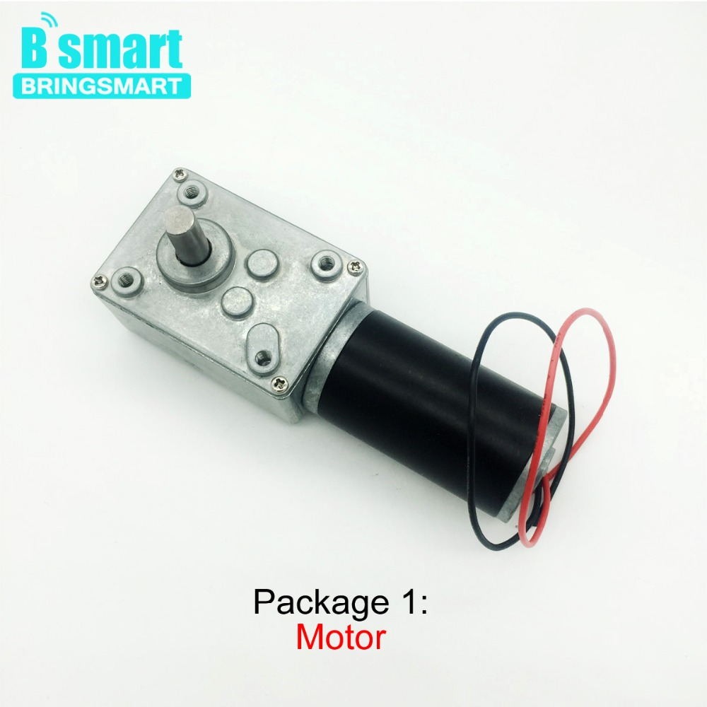 Bringsmart A58 Worm Gear Motor 12V DC Motor High Torque Speed Controller 12rpm Metal Self-lock Engine Power Supply Kits Bracket цена