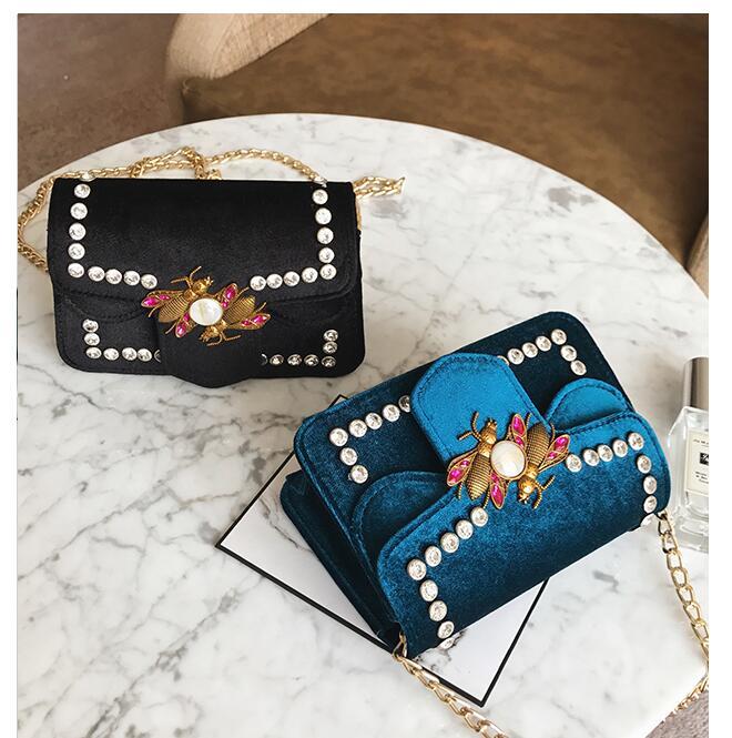 RUILANG 2018 New Womens Fashion Velvet Diamonds Handbags Female Messenger Bag Ladies Luxury Brand Shoulder Cossbody Bag