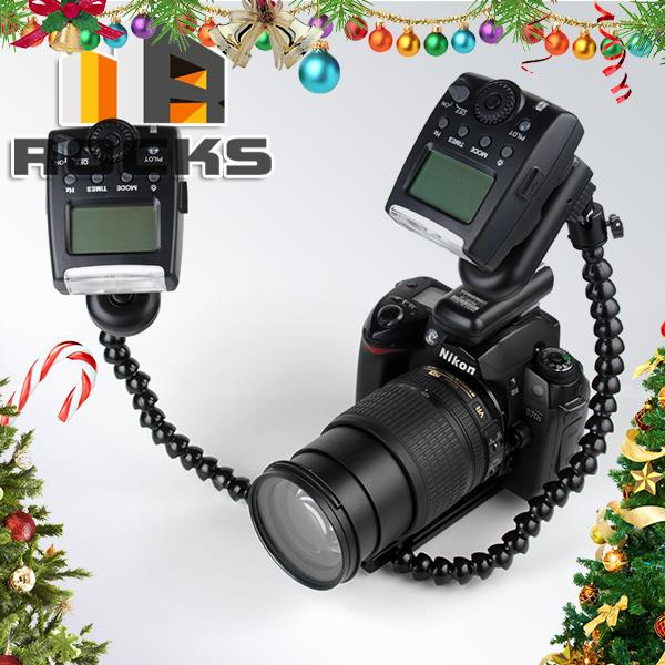 with gift Dual Flash Bracket Mount for MACRO SHOT Suit For Canon/Nikon/Pentax/Olympus