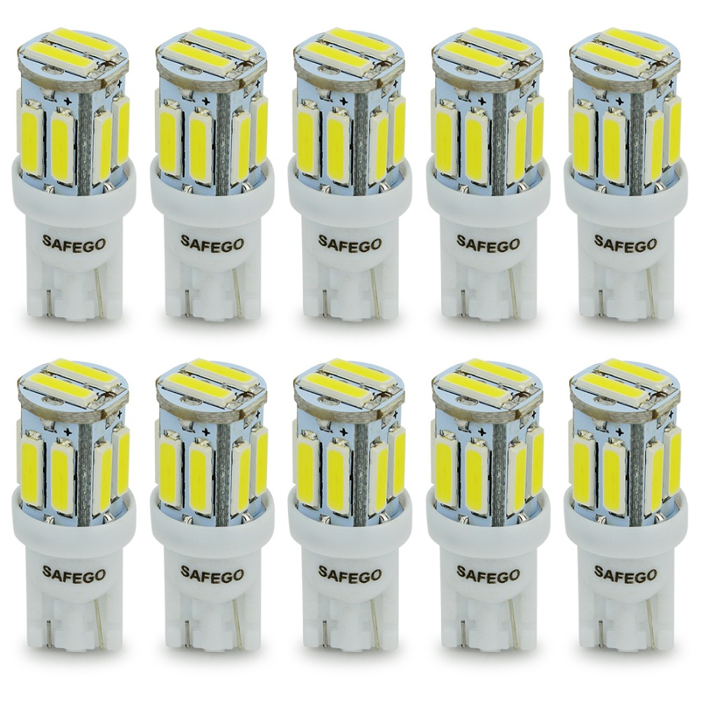 Safego 10pcs LED T10 W5W LED Bulbs White 7020 10 SMD 194 168 2825 Wedge Replacement Signal Trunk Dashboard Reverse Parking Lamp amput aptp446 digital 2 0 lcd pocket scale deep grey silver 2 x aaa