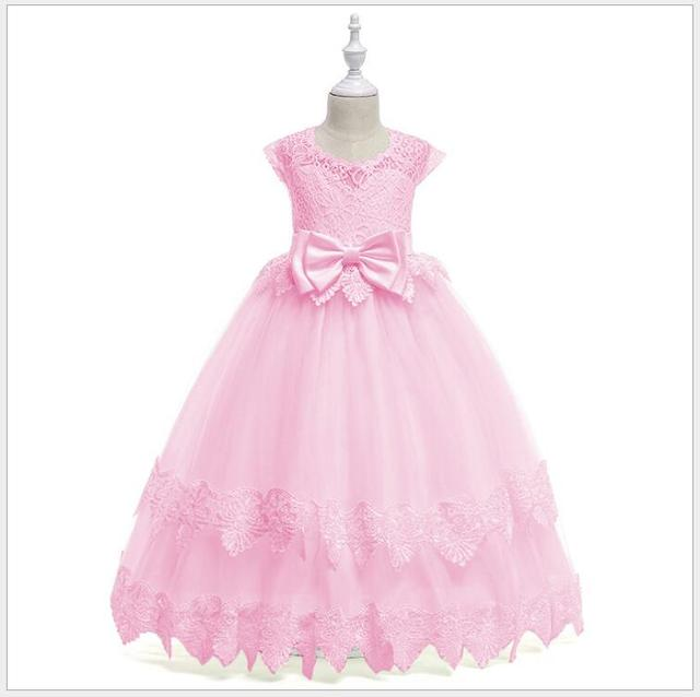b140874f7e teens girl long frock dress lace princess dress for wedding and birthday  party flower girl pink white long dress of honor