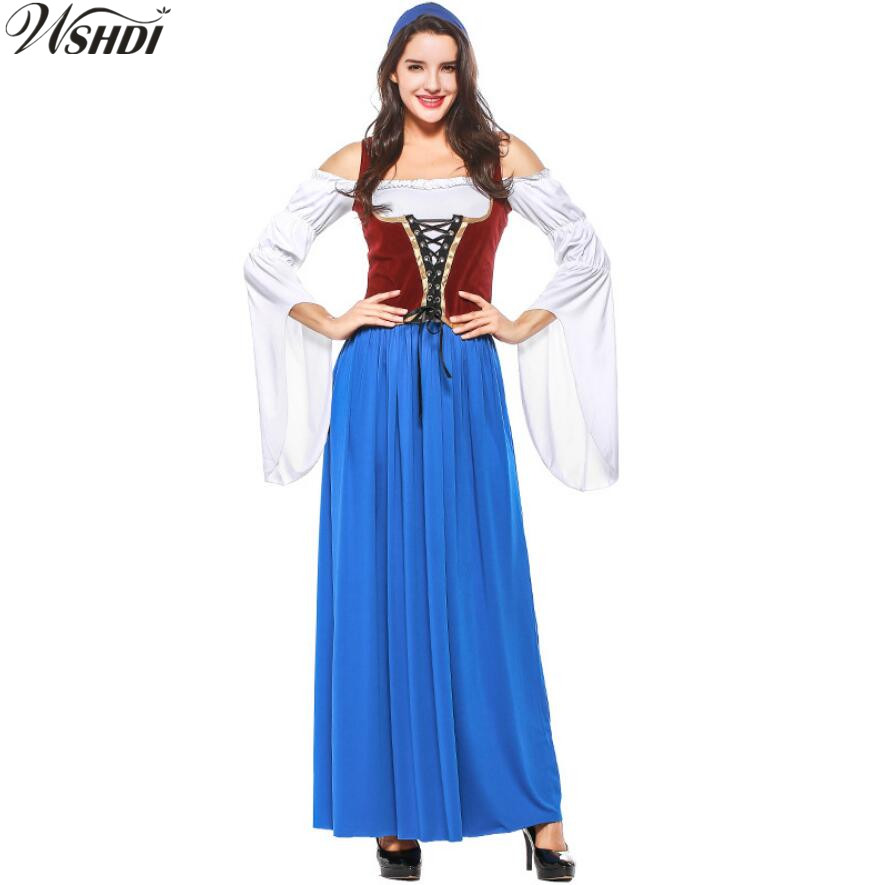 Oktoberfest Beer Maid Peasant Dress Costume German Wench Dirndl Costume  Halloween Carnival Party Cosplay Fancy Long Dress