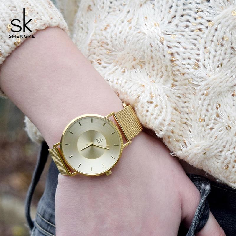 Shengke Watches Women Gold Bracelet Watches Brand Luxury Ultra Thin Quartz Watch Ladies Clock Relogio Masculino 2018 SK #K0059 fashion rose gold bracelet watches women luxury brand ladies ultra thin quartz watch wrist watch relogio feminino hodinky xfcs