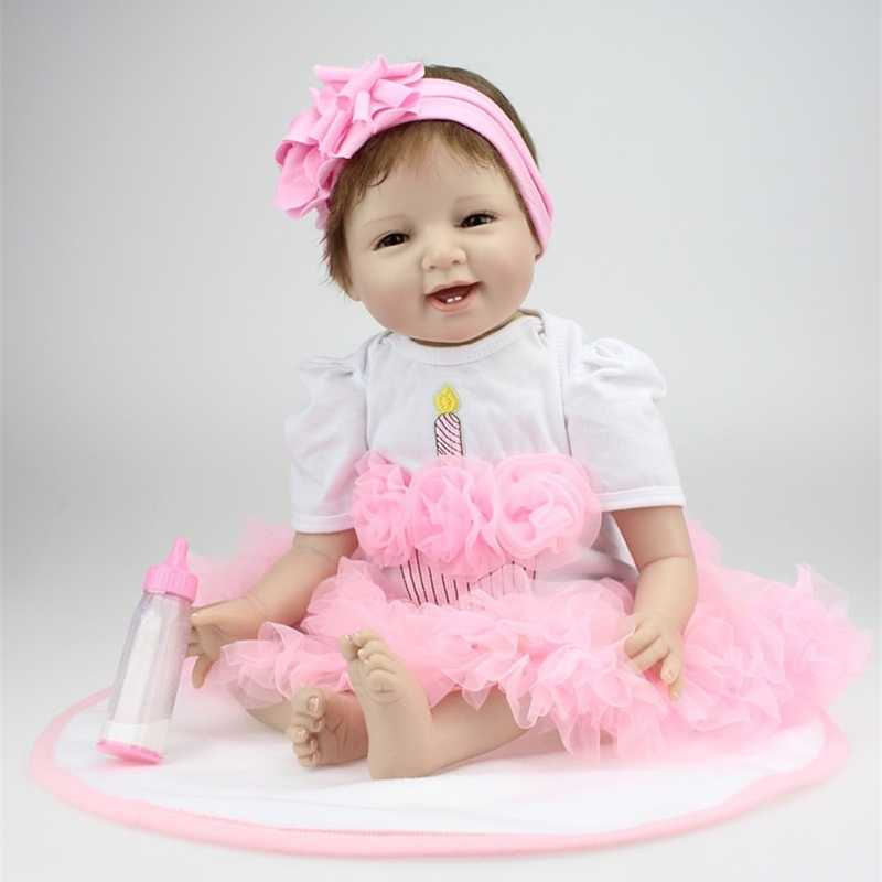55 см силиконовые куклы reborn модное платье принцессы куклы и куклы одежда playmate куклы для детей Рождественский подарок на день рождения