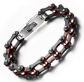 Stainless steel Women Men's Fashion  black  Red Motorcycle Biker chain bracelet Summer Holiday Gifts  10mm 9''