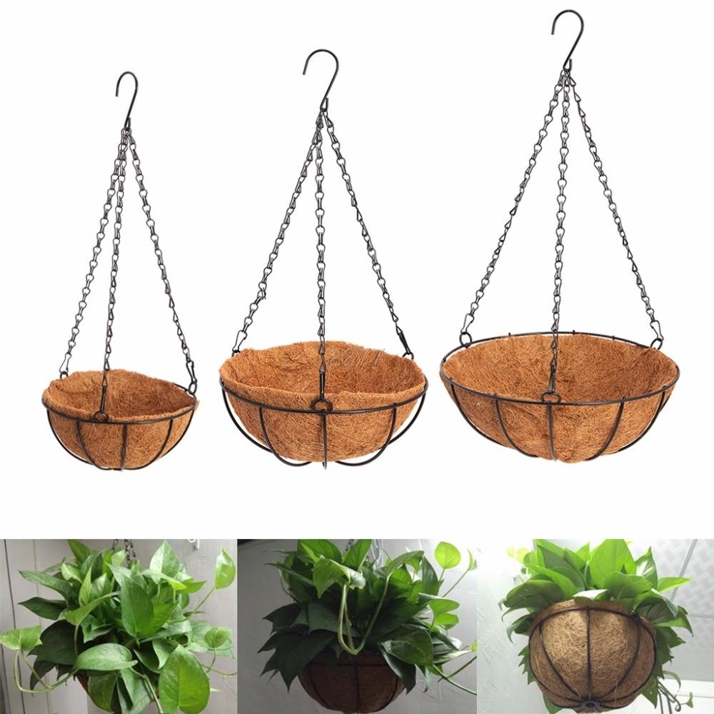 Hanging Coconut Vegetable Flower Pot Basket Liners Planter Garden Decor Iron Art MAY29 Dropship