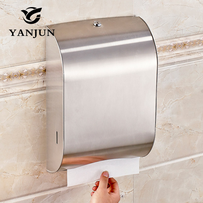 Yanjun wall mounted stainless steel toilet paper holder c fold or multifold paper towel for Home bathroom paper towel dispenser