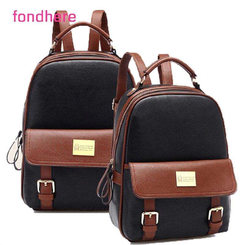 fondhere 2017 Fashion Backpacks cute Women PU Leather School Bag Girls Female Travel Shoulder Bags Waterproof Back Bags