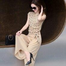 Новинка 2017 года корейский стиль Модные женские комплект одежды для лето Красивая шифоновая рубашка брюки 2 шт. тонкая одежда костюм женский комплект