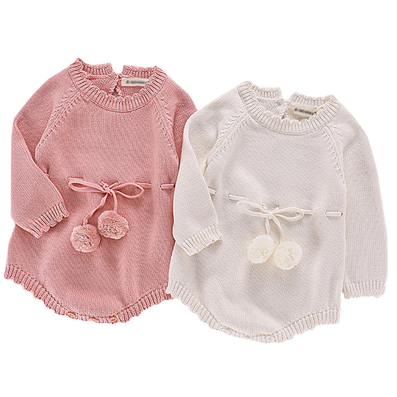 c223f1bf395f Autumn Baby Knitted Romper Infant Girls Long Sleeve Cotton Pom poms Sweater Overalls  Jumpsuits Kids Clothes ropas de bebe nina-in Rompers from Mother   Kids ...