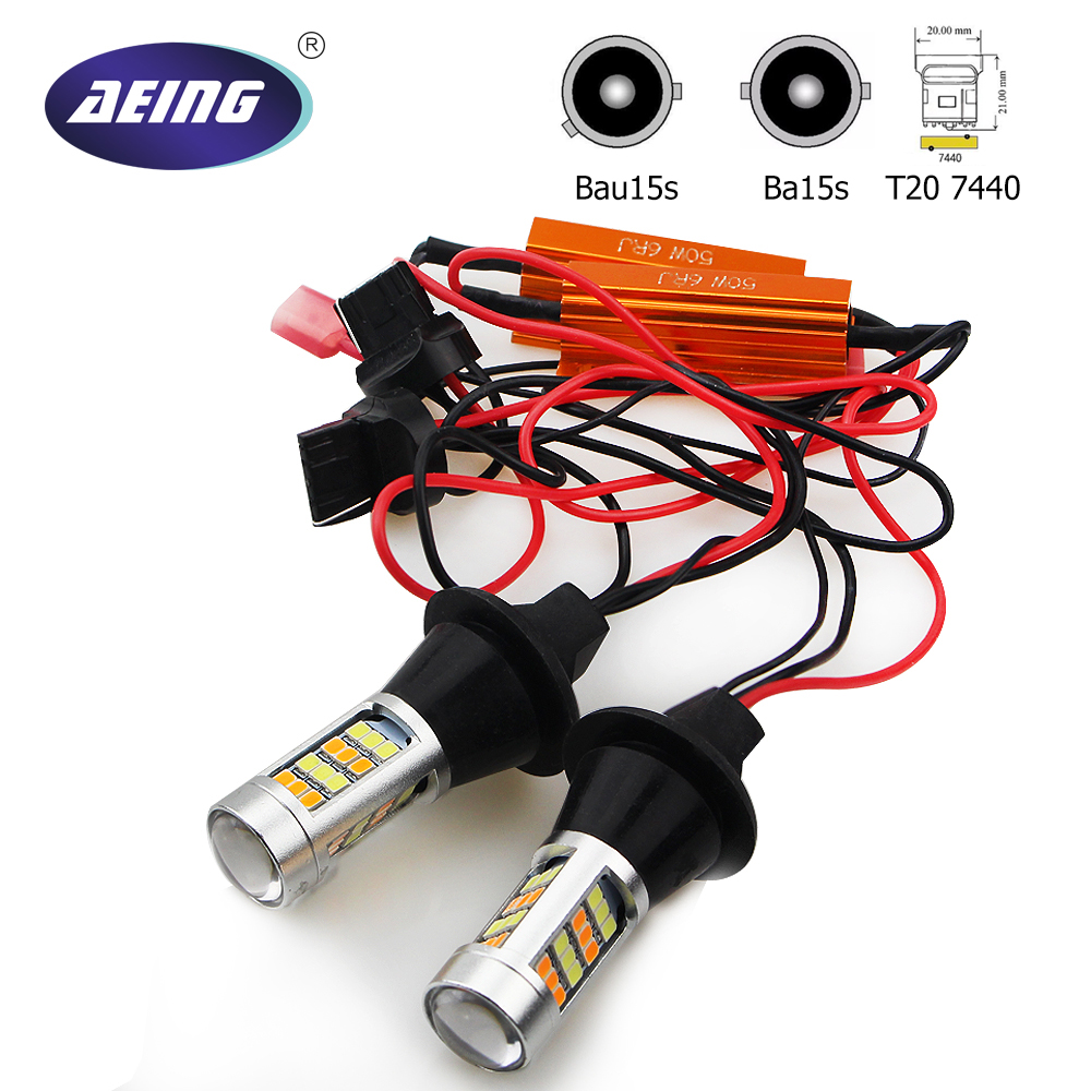 AEING No Hyper Flash/Canbus Error Free Switchback 1156 Ba15s P21W/Bau15s PY21W/T20 7440 LEDs Bulbs Amber Turn Signal Light DRL 2pc cree chip led 80w 1156 s25 ba15s amber orange 80w canbus bayonet indicator front rear turn signal light bulbs amber