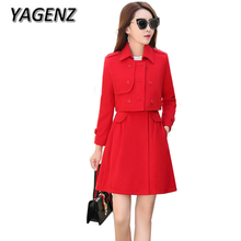YAGENZ 2017 2-piece set Autumn Winter New Woolen Jackets Temperament Slim Long Coat Double-breasted Solid color Wool Coat Female