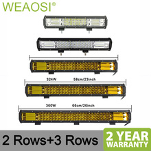 High Power 7D 3-Row LED Light Bar Offroad Combo Beam 15 18 20 23 Led Work 4x4 Truck Car 12v 24V white amber