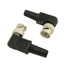 10 Uds RG59 BNC clavija de conector macho sin soldadura conector de ángulo recto para cámara CCTV conector de cable coaxial Accesorios