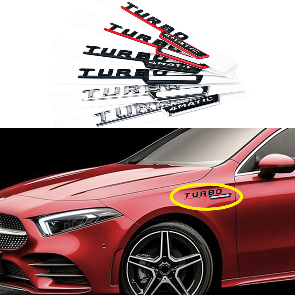 1-20 Pair For AMG 4MATIC TURBO Logo Badge Side Fender Sticker For Mercedes Benz A180 W176 W169 A200 A250 A209 A45 A150 A160 A209 image