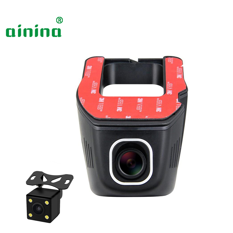 Ainina Dual lens WiFi Car dvr camera recorder 720p hidden dashcam,dual camcorder hd car wifi