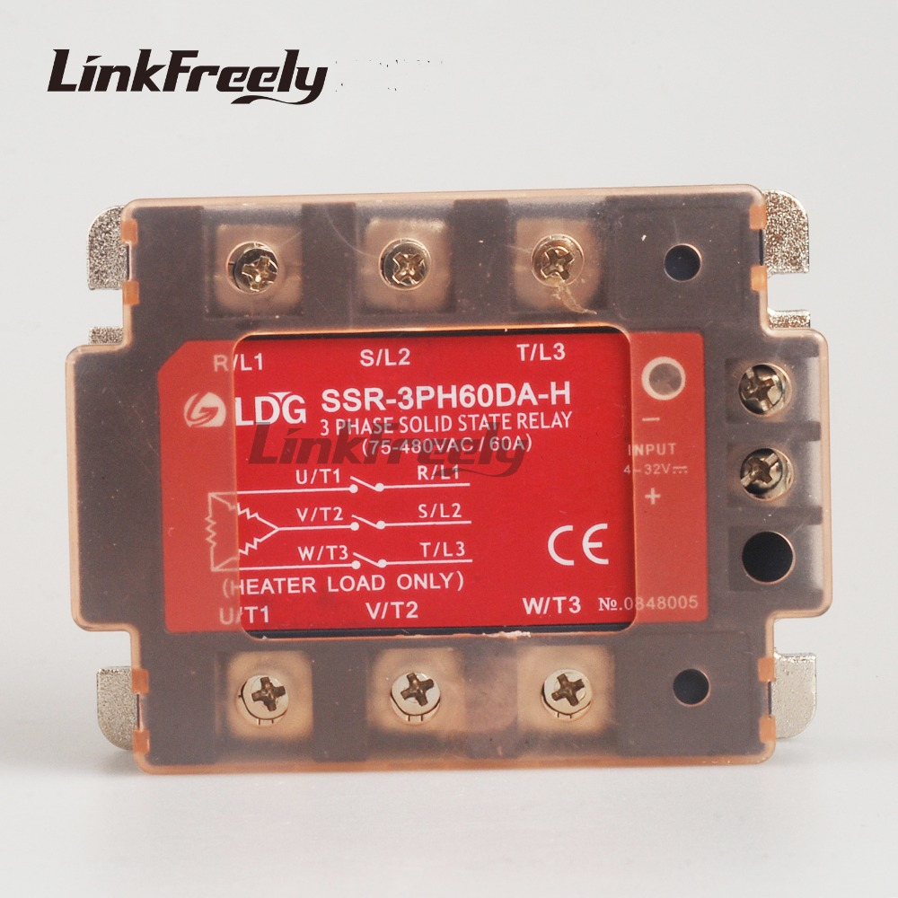 SSR-3PH60DA-H LED Panel Three 3 Phase AC Solid State Relay 5V 12V 24V Input output 90-480VAC 60A DC to AC SSR Relay Board 2pcs