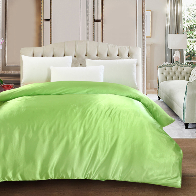 Le Green High End Silk Satin Twin Queen King Size Quilt Cover Solid Color Comforter