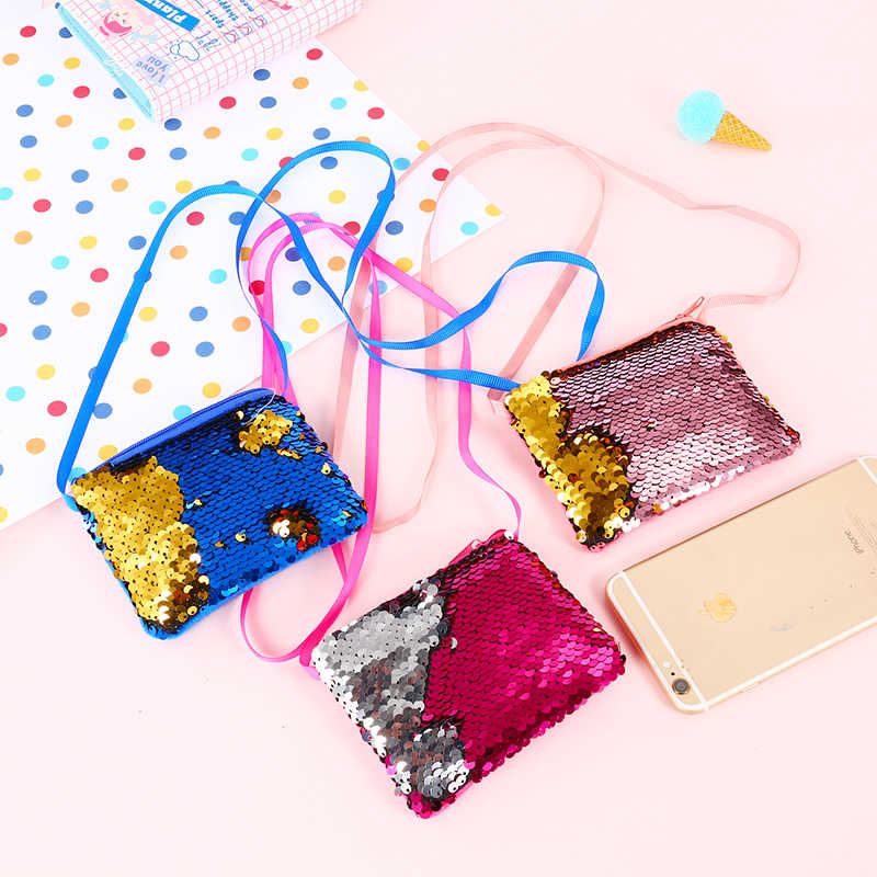 Bag Women Girls Mermaid Sequins Cute Coin Purse Handbags Loving Heart Wallet
