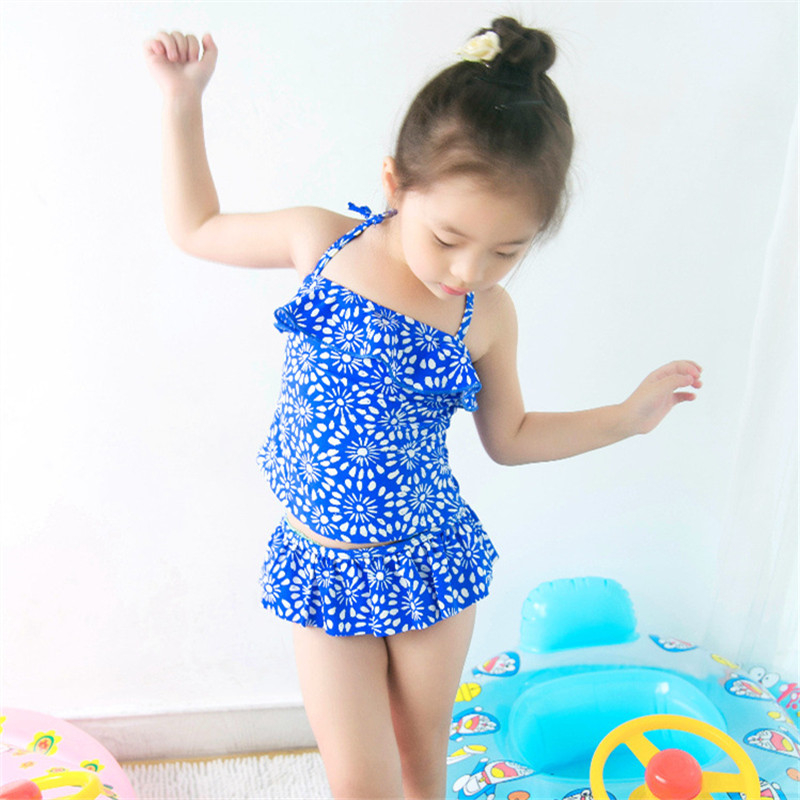 New Model Kid Girls Two Pieces Swimsuit 2-7 Y Baby Girl Blue & White Flower Swimwear Children Swimming Wear Swim Suit Bathing