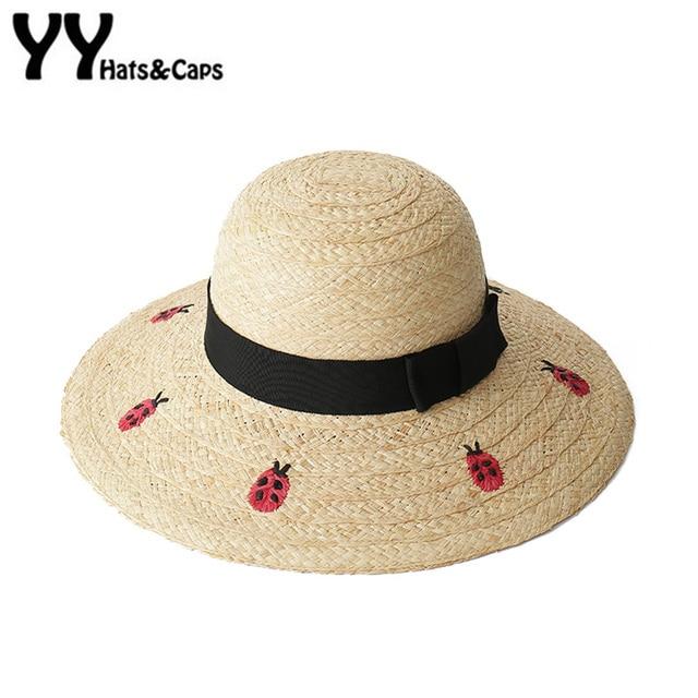 a80884f1 Large Brim Raffia Straw Sun Hat for Women Summer Beach Cap Handmade  Embroidery Ladybug Letter Sun