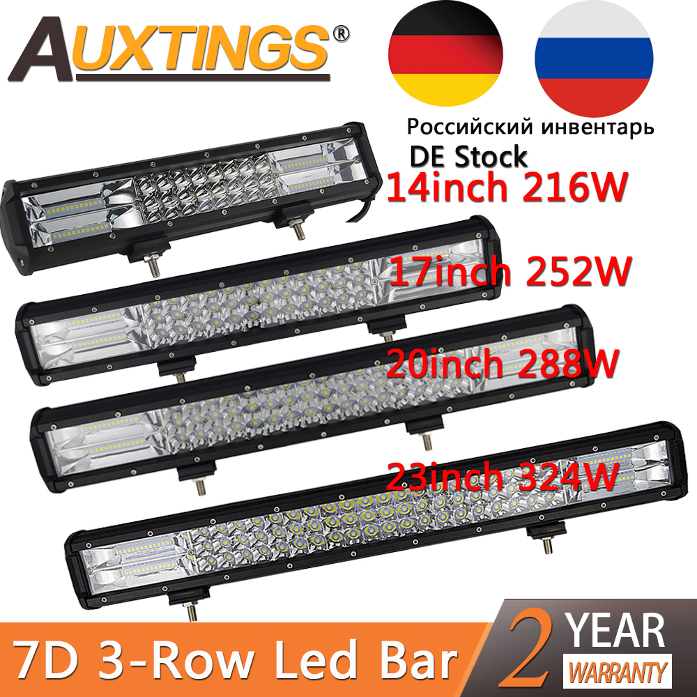 "Auxtings 7D 3-Row LED Light Bar Offroad Led Bar Combo Beam 14"" 17"" 20"" 23'' Led Work Light Bar For Truck SUV ATV 4x4 4WD 12v 24V"