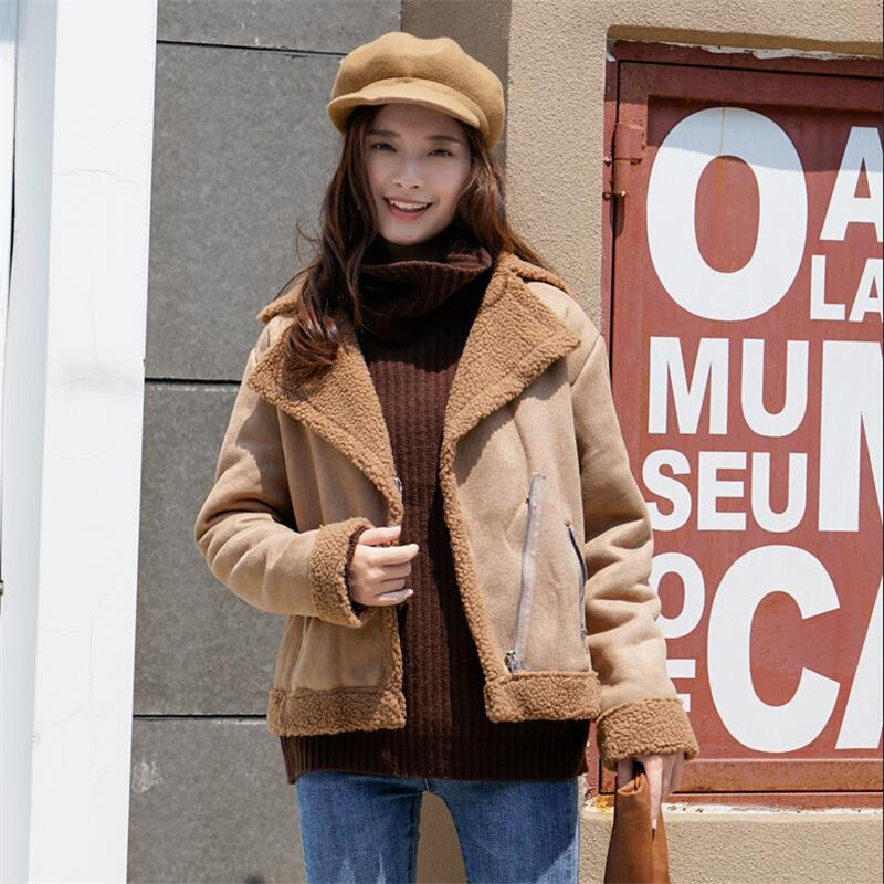 New Lamb Wool   Leather   Coat Women Autumn Winter   Suede   Faux Fur Coats Casual Warm Thermal Wool Fashion Zipper Short Wool Coat